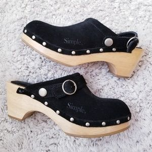 Simple Suede Clogs Mules Wooden